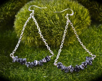 Handmade snowflake obsidian chandelier earrings wicca wiccan pagan celtic boho metaphysical new age hippie healing crystal gemstone earrings