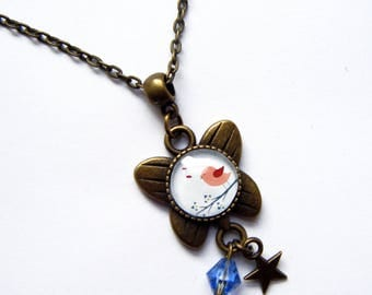 """Pendant cabochon """"cheep-cheep pink and blue"""" child"""