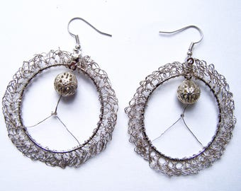 Crocheted earrings silver