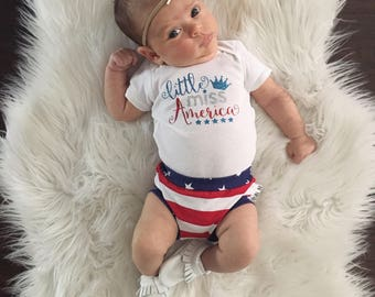 Little Miss America Onsie / Fourth of July Baby / Independence Day Shirt