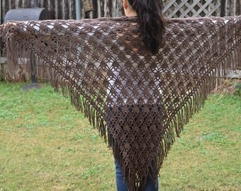 Hand knit brown shawl with fringe