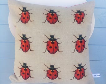 Ladybird Cushion, Ladybug Pillow, Bug/Nature gift for mum