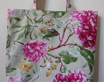 Shabby chic taste Peony Flowers shopping bag with linning [1]
