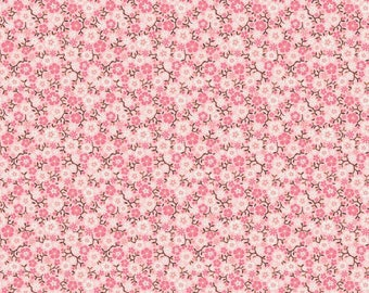 Calico Pink Flower Cotton Fabric