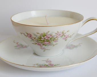 Cherry Blossom Vintage Teacup Candle