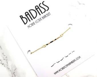 BADASS morse code friendship bracelet, thin beaded chain bracelet, silver minimalist bracelet, morse code jewelry, graduation gift