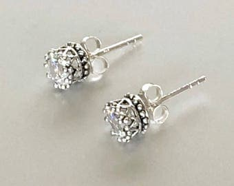 Silver Diamante Earrings, Pretty Ear Studs, Diamond Ear Studs, Simple Earings, Minimalist Ear Studs, Gifts For Her, E204