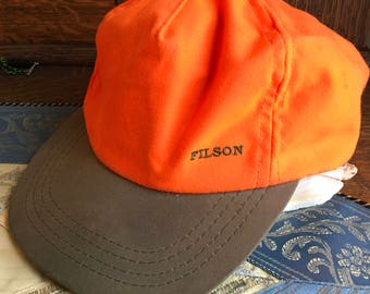 Filson Blaze Orange Hunting Hat with Green Brim One Size Fits All USA Vintage
