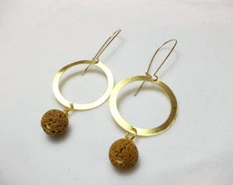 Handmade bronze earrings with brown lava stone