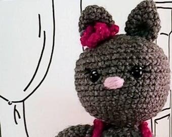 Kitty Doll, Kiara Kitty, ballerina amigurumi doll, 10in plush kitty, Grey Kitty, Ballerina Plush, Kitty plush, Handmade Kitty, Crochet Kitty