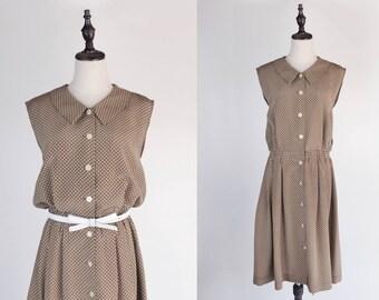 White Polka Dot Flat Collar Sleeveless Kaki Green Vintage Dress Size M