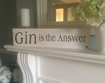 Wooden rustic Gin sign