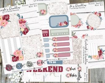 Winter Sparkle // Personal Size Mini Sticker Kit TN Travelers Notebook Full Boxes White Space Erin Condren Vertical