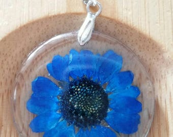 resin pendant with real flower