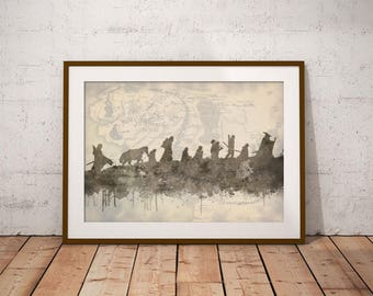 Lord Of The Rings Inspired Art Print, The Fellowship Middle Earth Map, Home Decor Wall Art, Boys Room Decor, A4 in size, LOTR Art