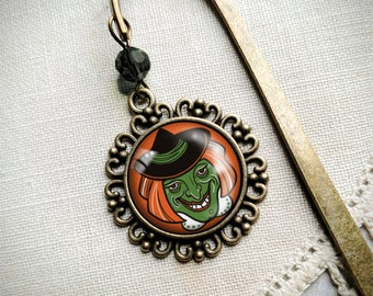 Retro Witch halloween bookmark with dangling glass cabochon accent
