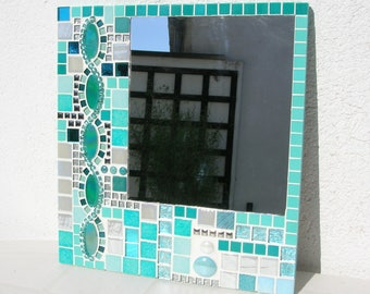 Blue white mosaic mirror