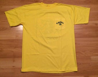 XL 1989 Camel Cigarettes men's vintage promo T shirt yellow blue Smooth Character 80's 1980's