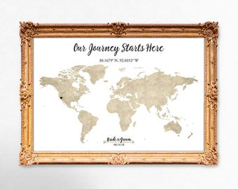 World map wedding guest book - Our journey starts here - 18x24 - 20x30 - 24x36 PRINTABLE