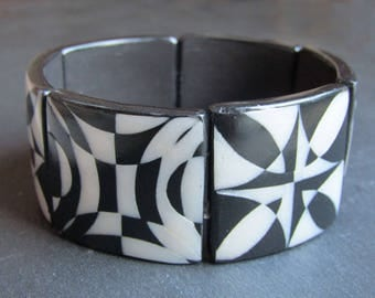 Bracelet beads square clay polymer black and White Pearl