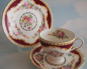Foley China Windsor Teacup Trio, Vintage E Brain & Co Cup Saucer Plate Set, White and Burgundy with Rose Floral Sprays, c1936 ~ 1948