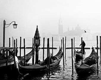 Venice Black and White Photography - Italy Photography - Black and White - Gondola - Venice - Grand Canal -  Fine Art Photography