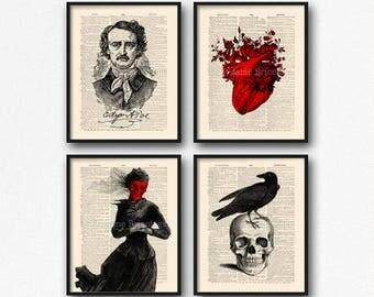 Allan Poe Print Set, Edgar Poe Lover Gift, Edgar Poe Print Gift, Edgar Allan Poe, Mystery Poster Pack, Print Set For Him, Allan Poe Wall 24