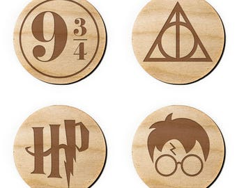 Harry Potter Icon Engraved Birch Coasters