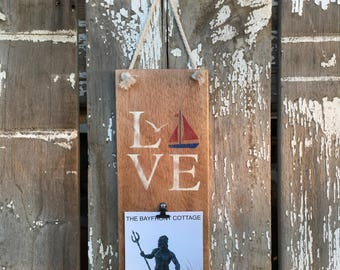 Beach Nautical Picture Holder, Reclaimed Driftwood, Love Sign, Sailboat, 5x7 picture frame