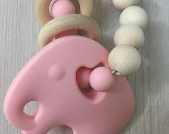 Pink silicone teether