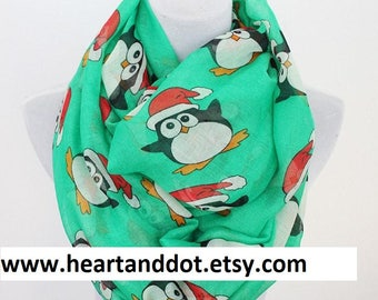 Penguin Infinity Scarf, Penguin Scarf, Penguin Lover Gifts,Xmas Scarf, Ugly Sweater, Ugly Christmas Sweater