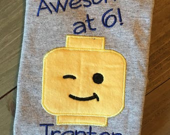 Lego Birthday Shirt Awesome at ANY AGE Choose From Twelve Designs Family Lego Shirts Lego Land Family Shirts
