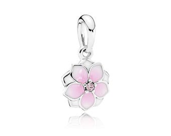 Authentic PANDORA Magnolia Bloom Pendant, Pale Cerise Enamel & Pink Cubic Zirconia