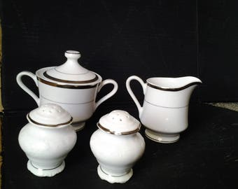 Harbro fine China Silver rimmed Sugar Bowl and Creamer - Salt and Pepper Shakers