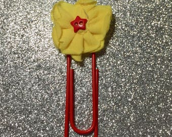 Yellow Flower Star Center Paperclip