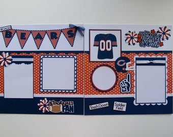 Chicago Bears - FREE SHIPPING - 2, 12 x 12 Paper Piecing Sports/Football Pre-Made Scrapbook Pages Die Cuts