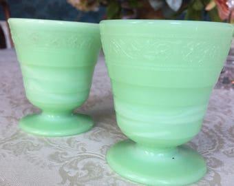 Set of 2 McKee Footed Jadeite Cups, Tumblers, Green Glass, McKee Mark on Bottom, 1930's