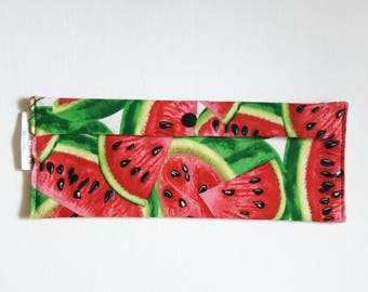 Carry bag brush tooth/toothpaste, utensils or reusable sandwich wrap - watermelon-