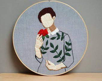 Floral:Temptingly Beautiful. Embroidery,embroidery hoop,embroidery art,wall hanging,modern embroidery,contemporary,art,artist,fiber art,gift