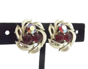 Lisner Red AB Rhinestone Gold tone Clip on Earrings Red Earrings Lisner Earrings gold Tone Earrings Rhinestone earrings