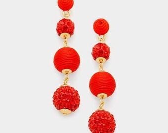 Bon Bon Earrings, Les Bonbons Earrings, Crispin Drop Earrings, Triple Ball Earrings, Thread Wrapped Ball Earrings, Red Fireball Earrings