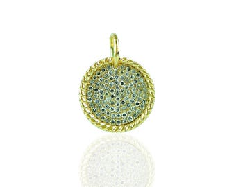 14YC125 - 14K Yellow gold diamond Round disc