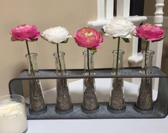 Cute Flower Rack, Heavy Galvanized Rack, Industrial Look, Ranunculus Silk Flowers, Country Look, Farmhouse Look