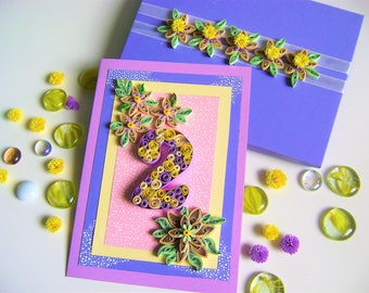 Birthday Quilling handmade card,baby greeting card,Special Birthday card,handmade quilled card,Quilled happy birthday card,quilling