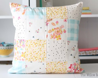 Quilted Pillow Cover - 18 by 18 inches - Living Room Throw Pillow - Pastels - Patchwork - Colorful Home Decor - Floral, Dots, Bees, Gingham