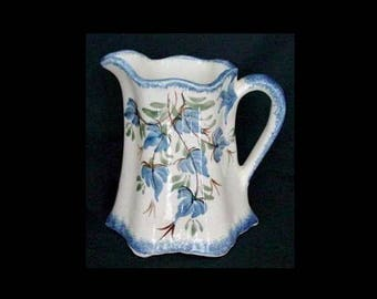 "Clinchfield Artware PITCHER Blue Clover 6"" BUTTERMILK Milk Jug Vintage Cash Family Pottery ~ Hard to Find Size! (B02) 6345"