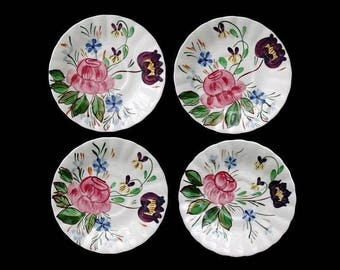 "Blue Ridge Lot ROSE HILL (4) 6"" Saucers Vintage Hand Painted Southern Potteries Dinnerware (B1) 6190 6191 6192 6193"