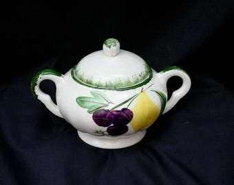 Blue Ridge Sugar Bowl FRUIT FANTASY w/Lid Vintage Pottery Southern Potteries Dinnerware Hand Painted Grape Pear Cherry (B22) 8185