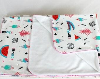 Watermelon blanket, Summer Blanket, White minky blanket, Baby infant blanket, toddler blanket, girl minky blanket, baby shower gift | Nuva