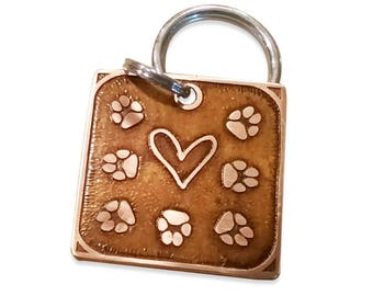 Dog ID Tag - Heart and paws in copper